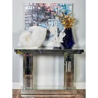 Modern Wooden Rectangular Mirrored Console
