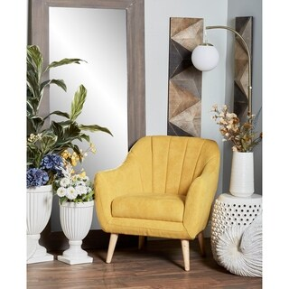 Modern Wood and Fabric Yellow Cushioned Armchair