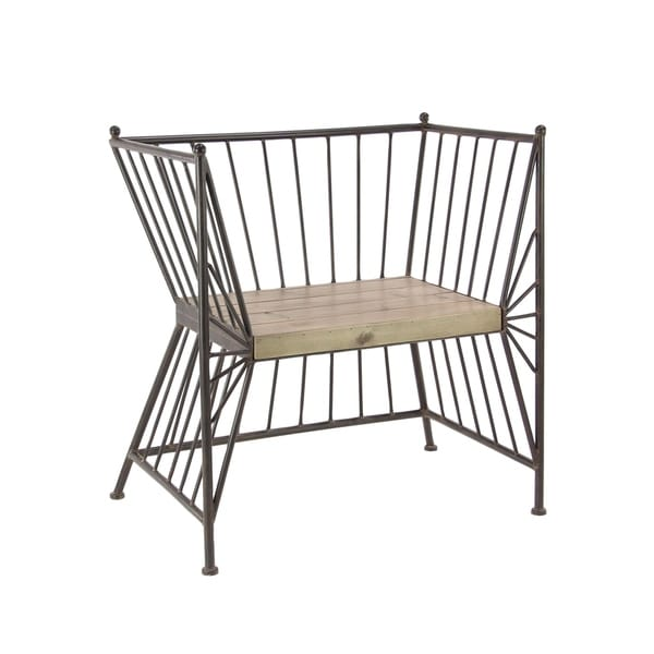 Groovy Shop Modern Iron Chair With Wooden Slab Seat On Sale Beutiful Home Inspiration Ommitmahrainfo