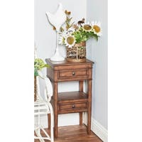 Traditional Wooden 2-Drawer Brown Side Table