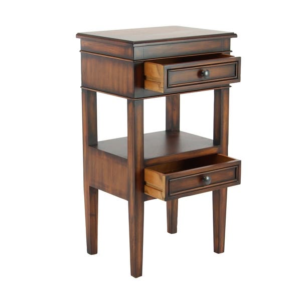 Traditional 29 Inch Brown Wooden Side Table with Drawers by Studio