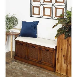 Rustic 3-Drawer Wood and Fabric Cushioned Storage Bench by Studio 350