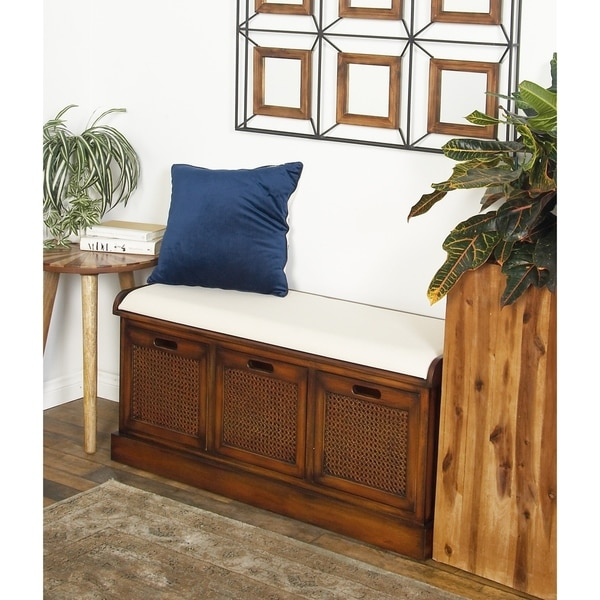 Shop Rustic 3 Drawer Wood And Fabric Cushioned Storage
