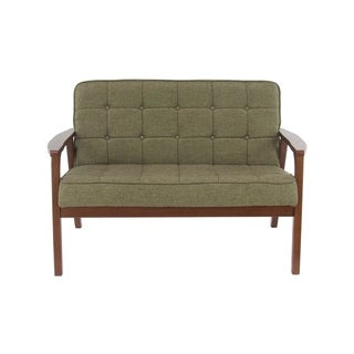 Traditional Wood and Fabric Tufted Cushioned Loveseat