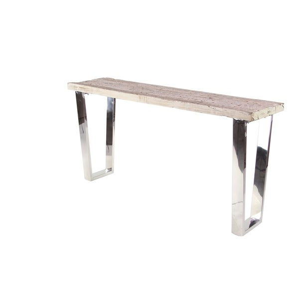 Modern Stainless Steel and Wood Console Table