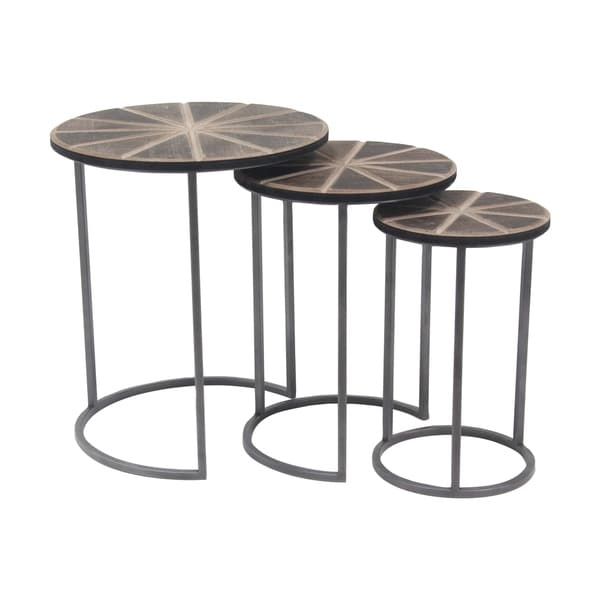 Set Of 3 Rustic Wood And Iron Nesting Tables