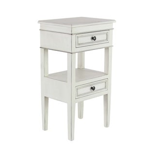 Traditional Wooden 2-Drawer White Side Table