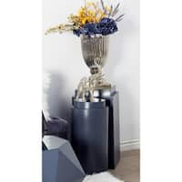Set of 2 Modern Cylindrical Wooden Pedestals