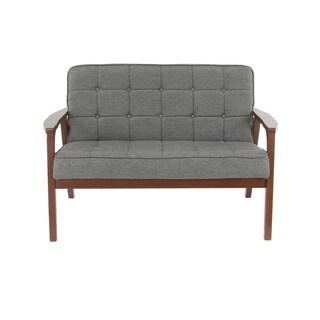 Modern Wood and Fabric Gray Love Seat