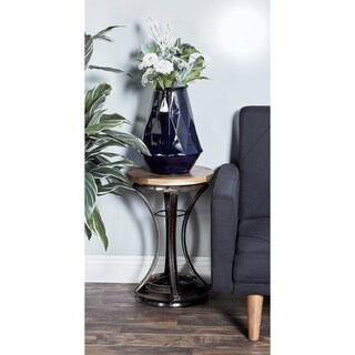 Industrial Teak and Iron Rim Accent Table