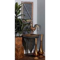 Modern Inverted Pyramid Iron and Wood Accent Table