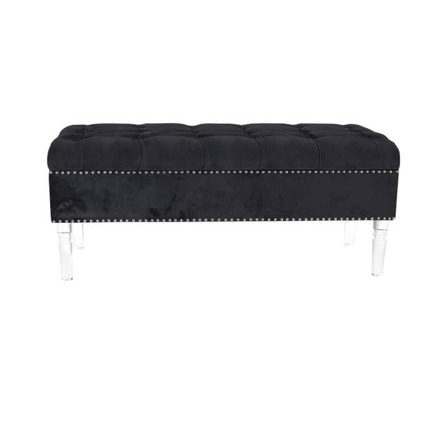 Prime Modern Pine Wood And Acrylic Tufted Black Fabric Bench By Studio 350 Machost Co Dining Chair Design Ideas Machostcouk