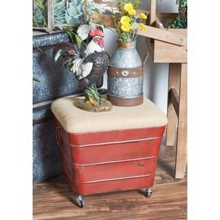 Studio 360 Red Wood/Iron/Fabric Trapezoidal Foot Stool