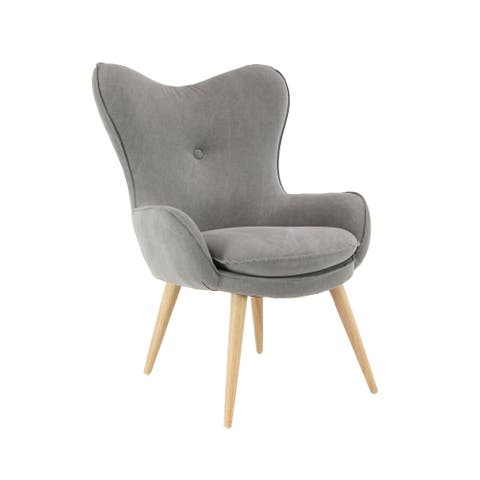 Modern Wood and Cotton Gray Cushioned Armchair