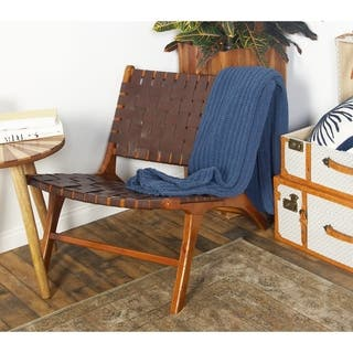 Rustic Mahogany Wood And Brown Leather Country Chair