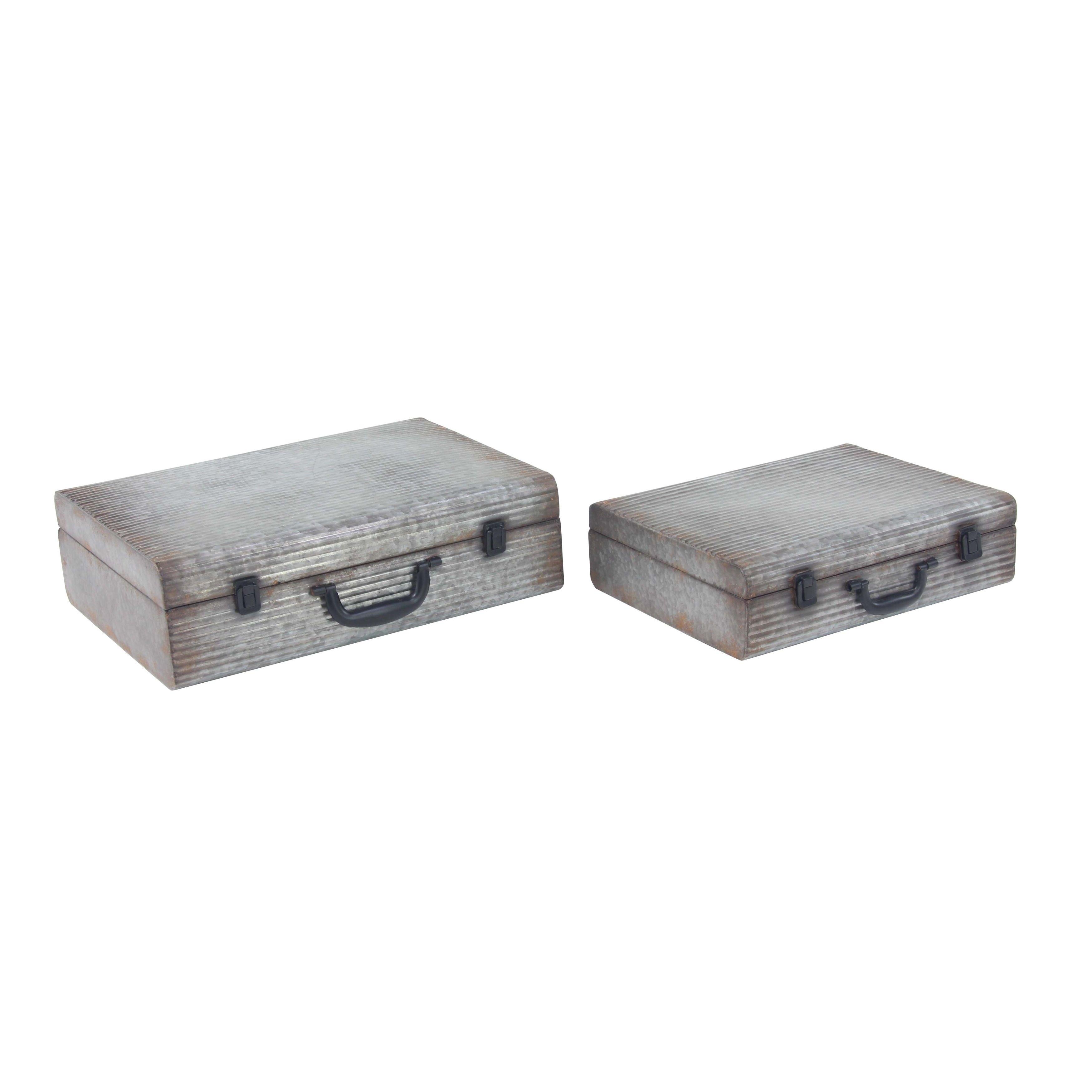 Set of 2 Rectangular Iron Latched Suitcase Boxes