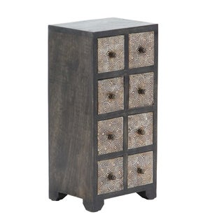 Rustic Mango Wood Rectangular 8-Drawer Vertical Jewelry Chest