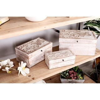 Set of 3 Natural Mango Wood Carved Whitewashed Boxes with Lid
