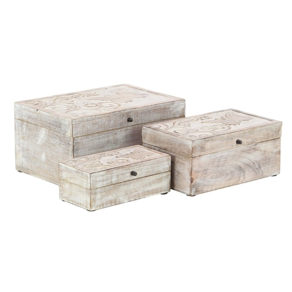 white washed mango wood. Set Of 3 Natural Mango Wood Carved Whitewashed Boxes With Lid White Washed U