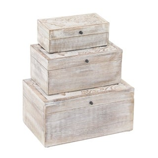 Set of 3 Natural Mango Wood Dragonfly Design Whitewashed Boxes