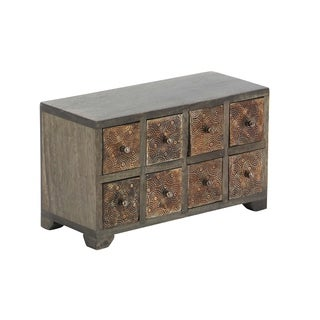 Rustic Mango Wood Rectangular 8-Drawer Horizontal Jewelry Chest