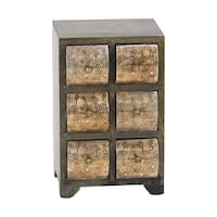 Rustic Mango Wood Curved Square Paneled 6-Drawer Jewelry Chest