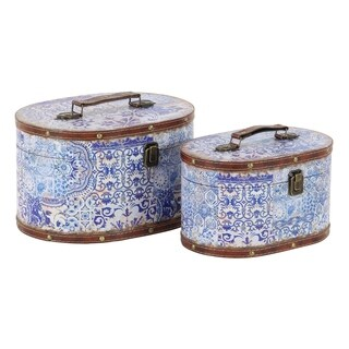 Set of 2 Traditional Pine Wood and Leather Oval Lidded Suitcase Boxes