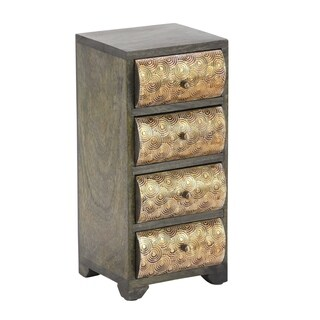 Rustic Mango Wood Curved Rectangular Paneled 4-Drawer Jewelry Chest