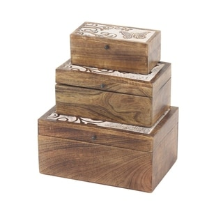 Set of 3 Natural Mango Wood Butterfly Design Boxes with Lid