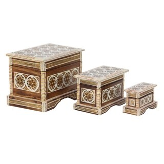 Set of 3 Traditional Wood Star Batik Design Decorative Boxes with Lid