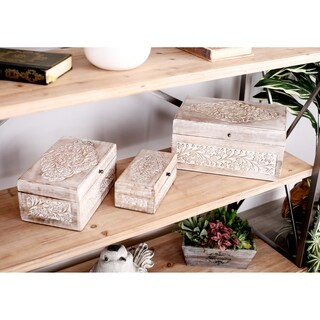 Set of 3 Natural Mango Wood Whitewashed Carved Design Boxes with Lid