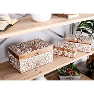 Set of 3 Natural Mango Wood Carved Tree Design Boxes with Lid