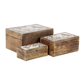 Set of 3 Rustic Mango Wood Storage Boxes with Carved Designed Lids
