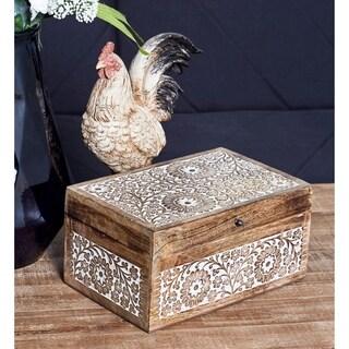 Set of 3 Mango Wood Carved Floral Boxes