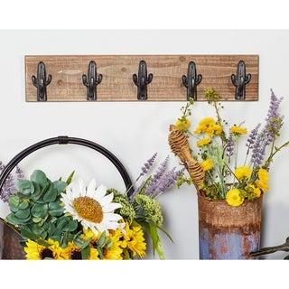 Rustic Wood and Iron Cactus Wall Hook