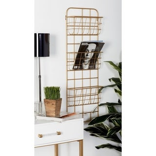 Modern Gold Iron 3-Tier Basket Wall Rack with 3 Hooks