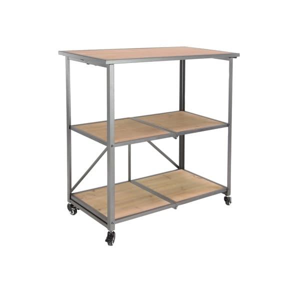 Modern Iron and Wood 3-Tier Wheeled Shelf