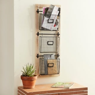 Farmhouse 3-Tiered Wood and Iron Basket Wall Rack by Studio 350