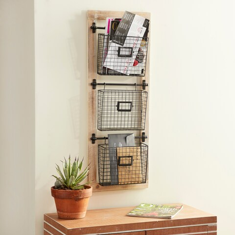 Industrial Wood and Iron 3-Tier Basket Wall Rack with Label Slot