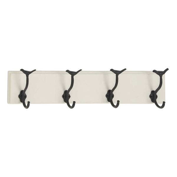 Traditional Wood and Metal Wall Hook Rack with 4 Hooks