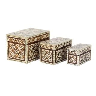 Set of 3 Traditional Wood Star Floral Batik Design Decorative Boxes - Off-white