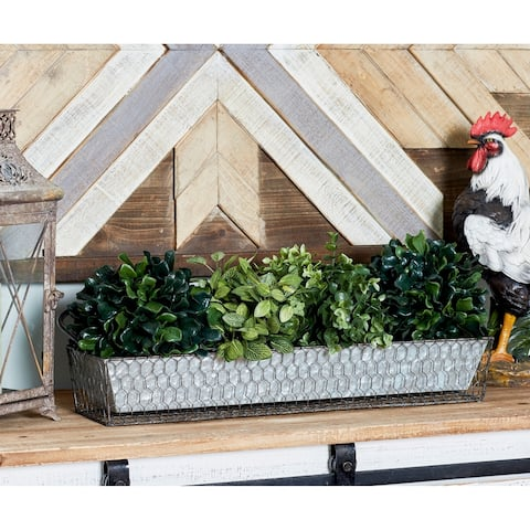 "Studio 350 Farmhouse Decor Rectangular Silver Mesh and Metal Plant Caddy with Handle and 4 Planters, 21"" x 4"""