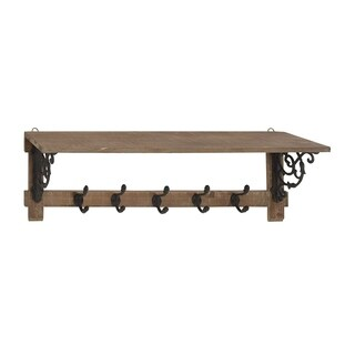 Traditional Brown Wooden Wall Shelf with 5 Hooks