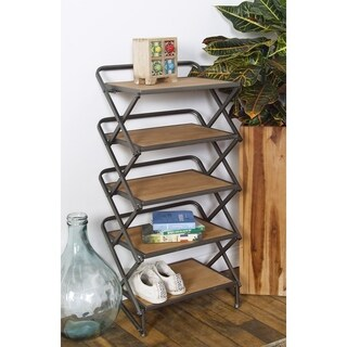 Contemporary 5-Tiered Iron and Wood Rectangular Accordion Shelf
