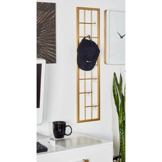 Modern Gold Iron Rectangular Wall Hook Rack