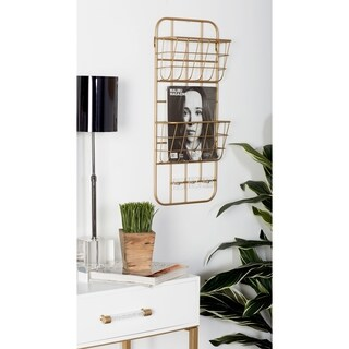 Modern Gold Iron 2-Tier Basket Wall Rack with 3 Hooks