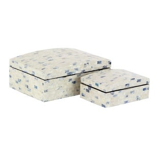 Set of 2 Wood and Shell Rectangular Decorative Boxes with Domed Lid