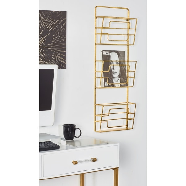 Contemporary 3-Tiered Gold Metal Wall Rack by Studio 350