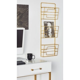 Modern Gold Iron 3-Tier Wall Mounted Basket Rack