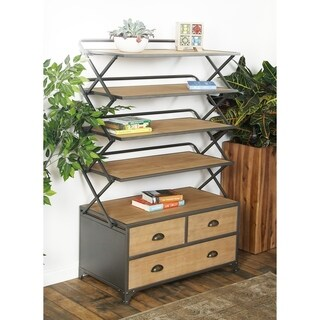 Contemporary Wood and Iron Brown Storage Shelf